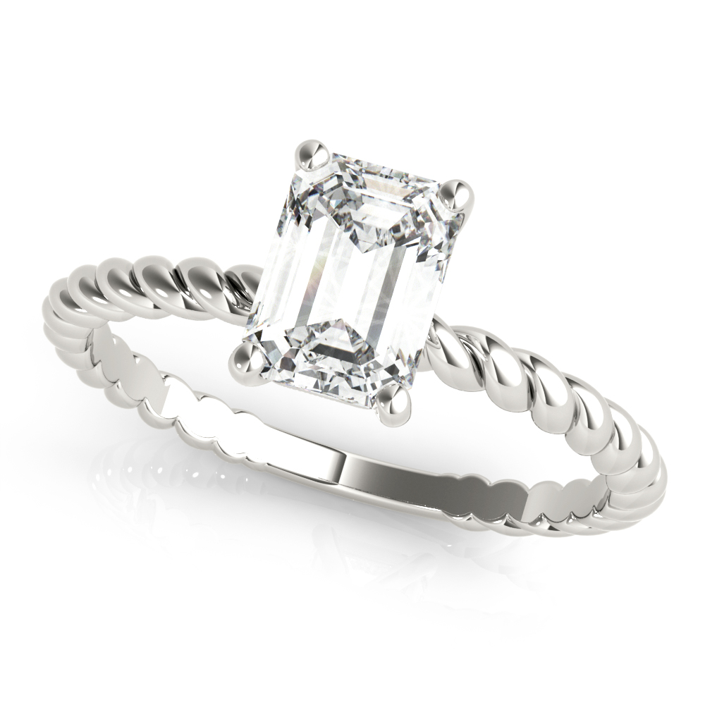 Petite Rope Solitaire Emerald Cut Engagement Ring