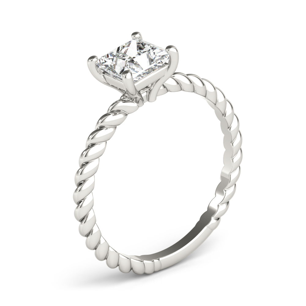 Petite Rope Solitaire Princess Engagement Ring
