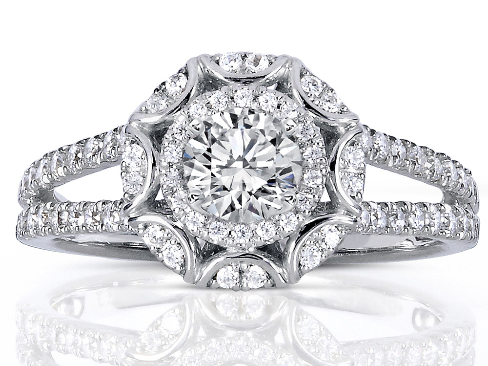 Engagement Ring -Victorian Halo Double Band Diamond Engagement Ring ... 8cafa0c6c4