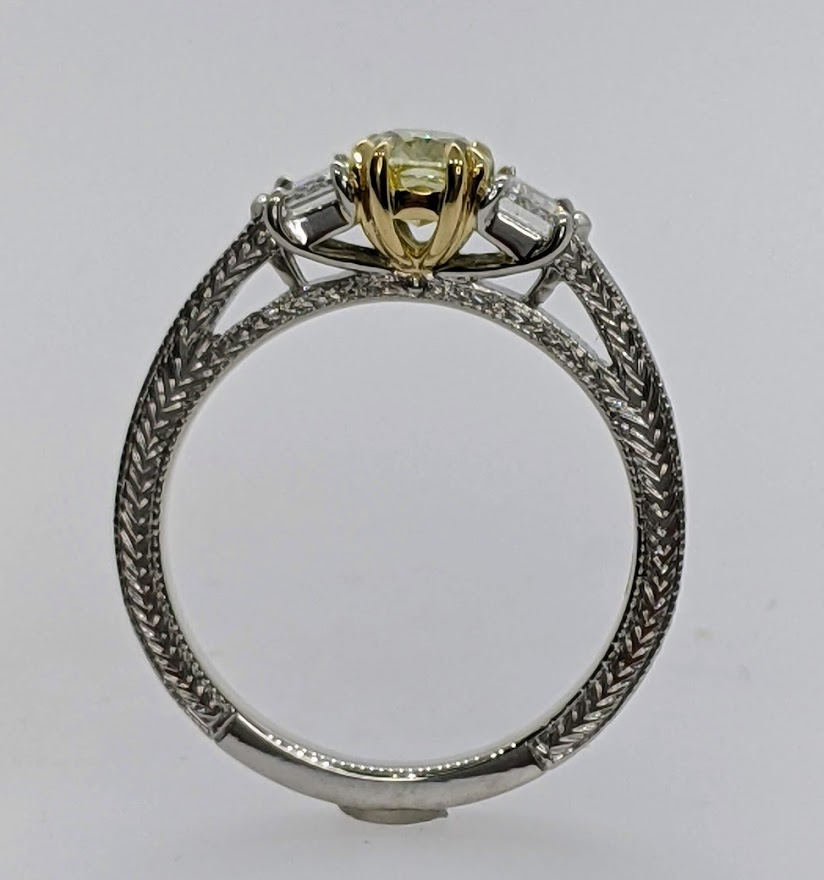 Yellow Diamond Engraved Cadillac Engagement Ring