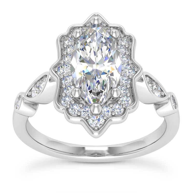 Floral Halo Swing Marquise Engagement Ring