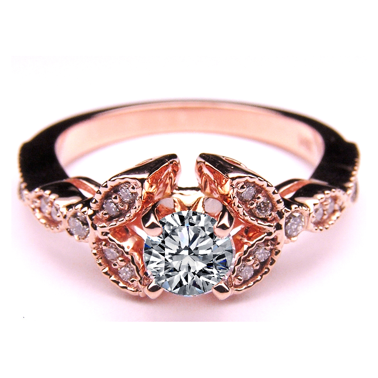 Floral Vintage Diamond Engagement Ring 02 Tcw In 14k Rose Pink Gold