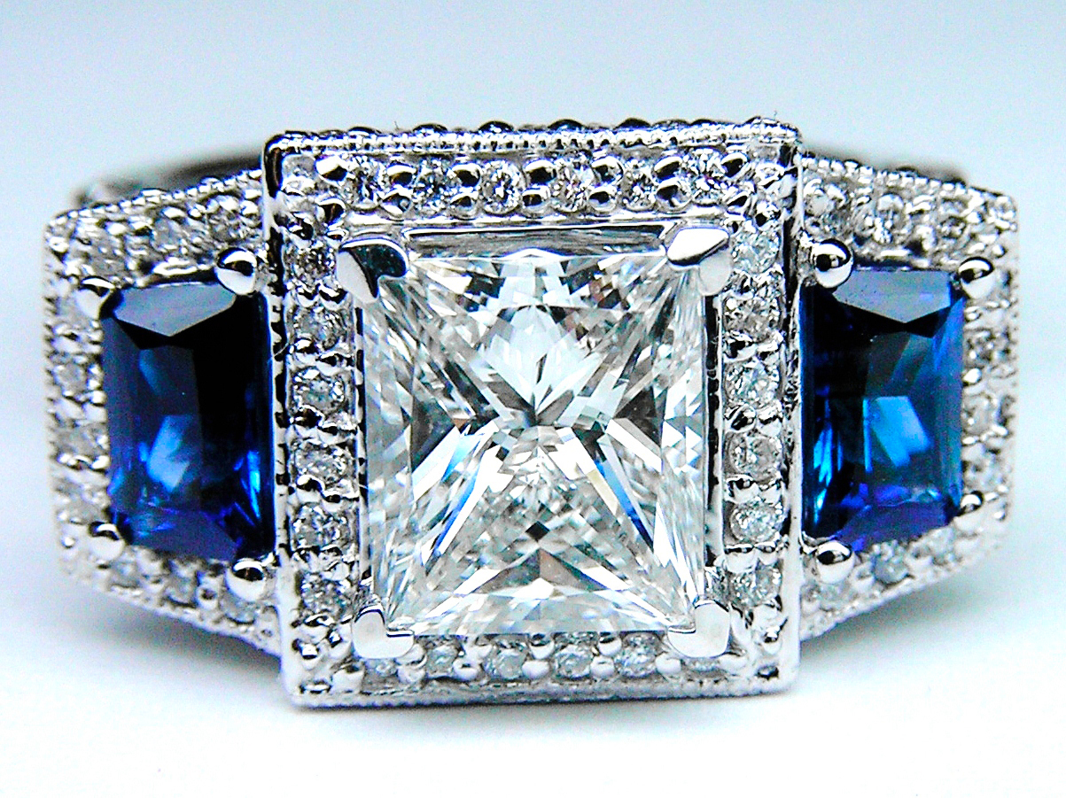 Princess Diamond Engagement Ring Square Halo and Trapezoids Blue Sapphire side stones