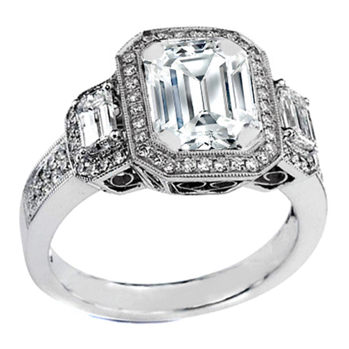 Engagement Ring Three Stone Emerald Cut Diamond Vintage Design In Platinum ES242ECPL